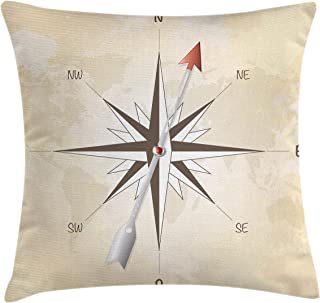 Lunarable Compass Throw Pillow Cushion Cover, Compass Rose with Arrow on Vintage Grungy Background Travel Navigation Artwork, Decorative Rectangle Accent Pillow Case, 26