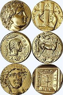 Sponsored Ad - Golden Artifacts Apollo, 3 Famous Greek Coins of Apollo, God of The Sun, Unique Gift, Greek Mythology (Apol...