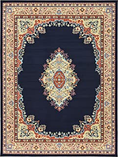 Unique Loom Reza Collection Classic Traditional Navy Blue Area Rug (9' 10 x 13' 0)