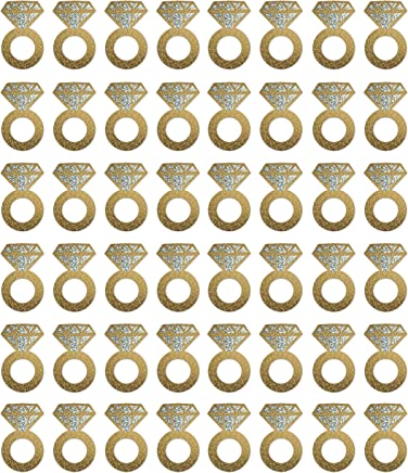"""Beistle 57325 Diamond Ring Wine Glass Markers 48 Piece, 2.25"""" x 3.5"""", Gold/Silver"""