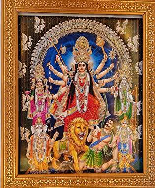Shree Handicrafts Durga Devi Durga Killing Daemon Mahishasurmardini Durga Photo Frame