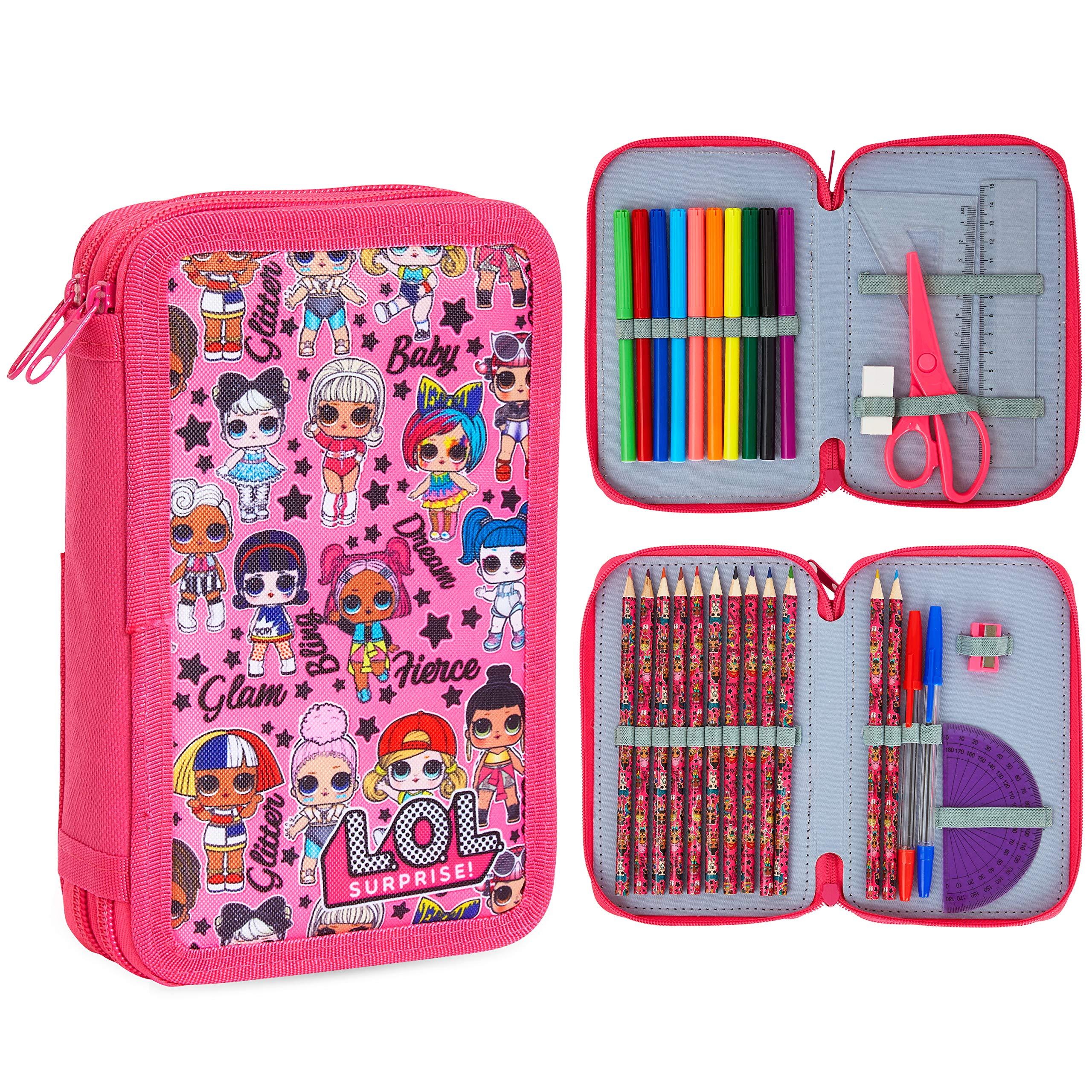 L.O.L. Surprise! Estuche con relleno, lápices de colores y bolígrafos para niños: Amazon.es: Oficina y papelería
