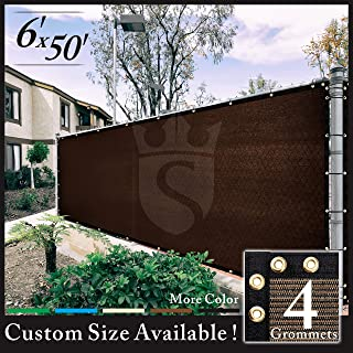 Royal Shade 6' x 50' Brown Fence Privacy Screen Cover Windscreen, with Heavy Duty Brass Grommets, Custom Make Size