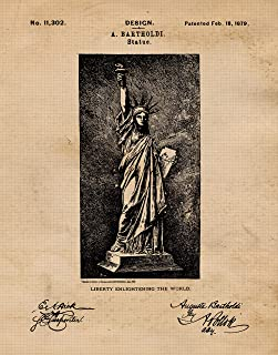 Original Statue of Liberty Patent Poster Prints, Set of 1 (8x10) Unframed Photo, Wall Art Decor Gifts Under 10 for Home, Office, Man Cave, Student, Teacher, American Citizen, US Veterans & NYC Fan