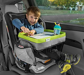 Kids Travel Tray - Soft and Sturdy Portable Lap Activity and Snack Desk for Cars, Planes and Strollers - Extra Deep Cup Holder, Reinforced Lip - Carry as Backpack or Messenger Bag - by Maygree