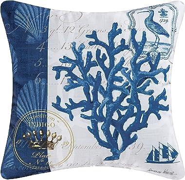 C&F Home Indigo Coral Premium Indoor/Outdoor Decorative Accent Throw Pillow 18 x 18 Multi