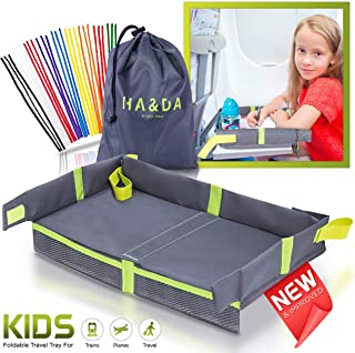 Foldable Kids Travel Tray for Airplane Travel Activities and Games, Use on Plane/Train Tray Table, Toddlers and Children, Unisex - Compact Light Portable - W/Fun Chenille Pipe Cleaners for DIY