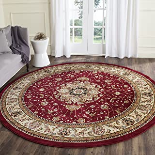 Safavieh Lyndhurst Collection LNH329C Traditional Medallion Red and Ivory Round Area Rug (8' Diameter)