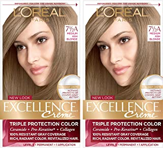 L'Oréal Paris Excellence Créme Permanent Hair Color, 7.5A Medium Ash Blonde, 2 COUNT 100% Gray Coverage Hair Dye