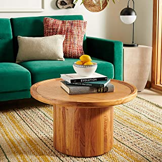 Safavieh Home Collection Devin Natural Brown Round Pedestal Coffee Table,