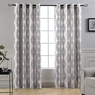 DriftAway Adrianne Thermal and Room Darkening Grommet Unlined Window Curtains Set of 2 Panels Each 52 Inch by 84 Inch Beige and Gray
