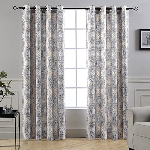 DriftAway Adrianne Damask Floral Pattern Thermal Room Darkening Grommet Unlined Window Curtains Set
