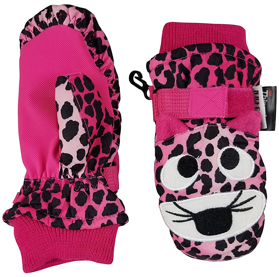 N'Ice Caps Little Kids and Baby Cute Animal Faces Waterproof Winter Mittens