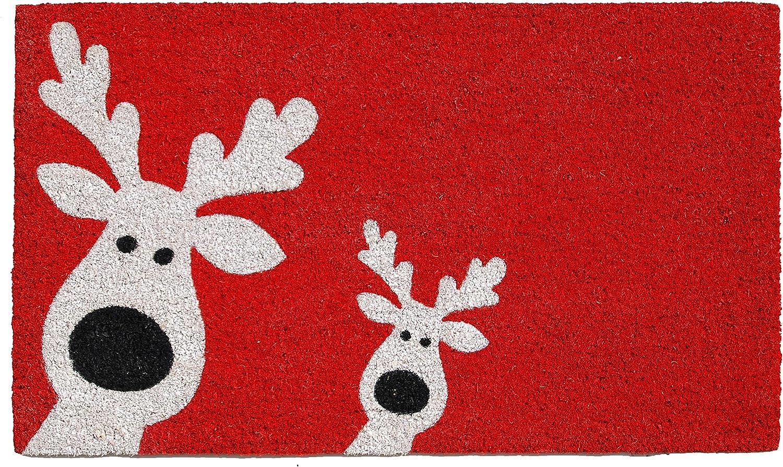 Home & More 101801729 Peeking Reindeer Doormat