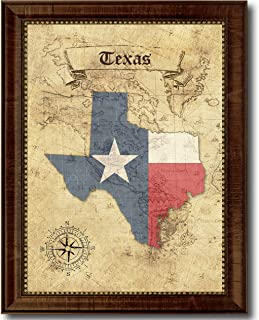 SpotColorArt Texas State Vintage Map Flag Canvas Print, Brown Gold Picture Frame Home Decor Wall Art Gift Ideas, 15