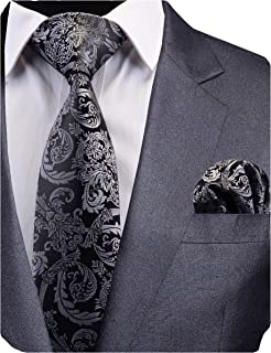 6cm Black and gray branched floral tie 2.36