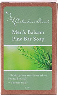 Celadon Road Men's Balsam Pine Bar Soap - Organic and All Natural Ingredients and Essential Oils - Sulfate and Paraben Free - Best Men's Soap - 3.5oz - Made in USA