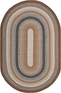 Safavieh Braided Collection BRD313A Hand Woven Brown and Multi Oval Area Rug (8' x 10' Oval)