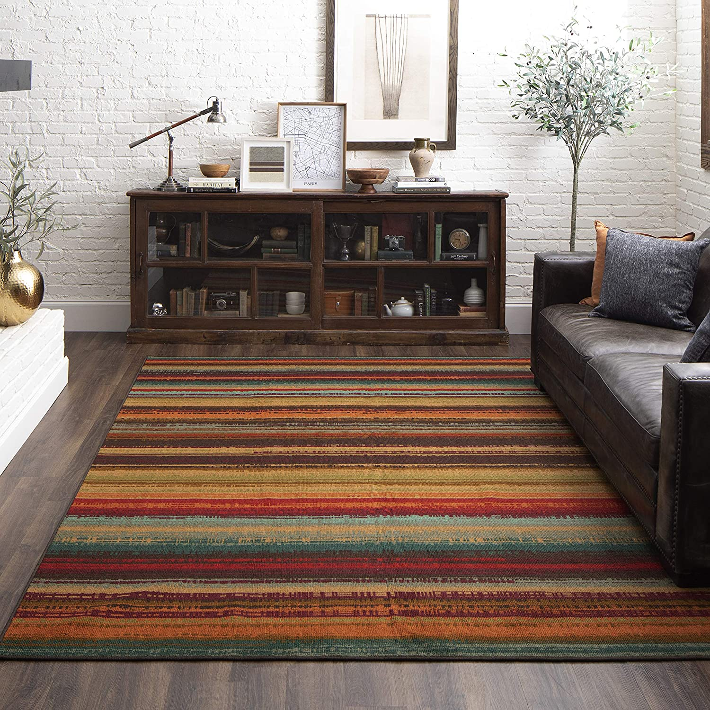 Mohawk Home Avenue Stripe Indoor 店舗 Rug 6'x9' Outdoor Multi Area 当店限定販売
