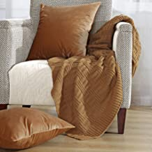 Home Soft Things Brooke Cable Throw with 2 Pillow Shells Combo Set, Iced Coffee