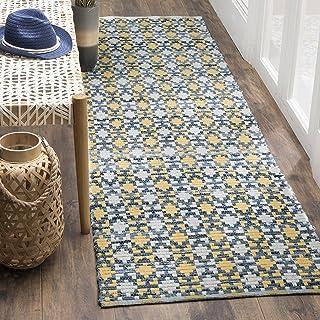 "Safavieh Montauk Collection MTK123B Handmade Flatweave Cotton Runner, 2'3"" x 6' , Gold / Multi"