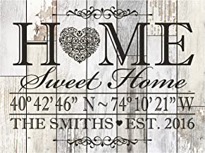 LifeSong Milestones Personalized Home Coordinates Latitude Longitude Wall Sign with Family Last Name and Date Established Home Sweet Home for Couple Solid Wood (Light Distressed)