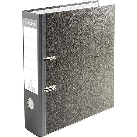Exacompta - réf. 52070E - 1 Classeur à levier papier marbré gris - avec perforateur - Dos de 70 mm - Mécanique 75 mm - Dimensions extérieures : 32 x 29 x 7 cm - FT à classer A4 - Coloris gris-dos gris