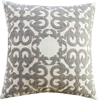SLOW COW Cotton Embroidery Decorative Throw Pillow Cover Grey Cushion Cover 18x18 Inches, 1PC