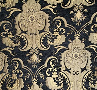 Damask, Chenille ,Upholstery ,Drapery Fabric, Black/gold, Sold By the Yard 58