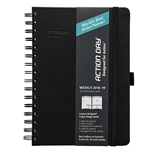 Action Day Academic Planner 2018-2019 - World's Best Goals & Action Layout That Gets Things Done & Increase Productivity - Daily, Weekly, Monthly, Yearly Organizer (6x8,Wire-Bound,Black)