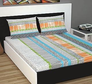 Divine Casa Evan 144 TC Cotton Double Bedsheet with 2 Pillow Covers - Printed, Multicolor
