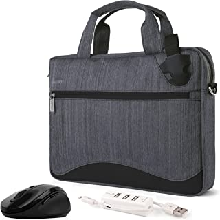 Slim Black Anti-Theft Laptop Messenger Bag, Mouse, USB Hub for Fujitsu LifeBook and Stylistic Series 11 to 13.3 inch
