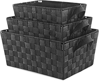 Whitmor Woven Strap Storage Baskets Set of 3 Black