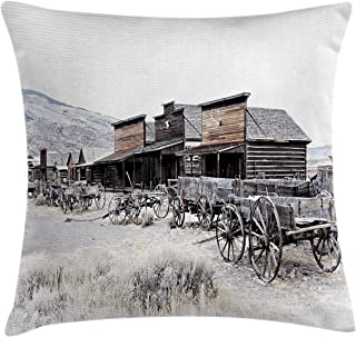 Ambesonne Western Throw Pillow Cushion Cover, Old Wooden Wagons from 20's in Ghost Town Antique Wyoming Wheels Artwork Print, Decorative Square Accent Pillow Case, 18