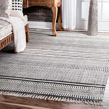 nuLOOM Raina Flatweave Area Rug, 7' 6  x 9' 6 , Grey
