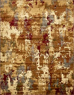Unique Loom Barista Collection Abstract Modern Rustic Warm Beige Area Rug (9' 0 x 12' 0)