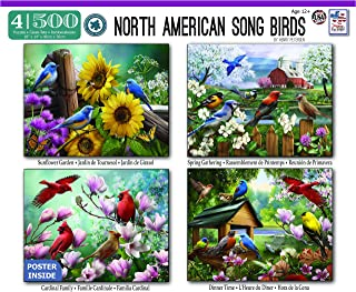 "The Jigsaw Puzzle Factory North American Song Birds Puzzle Game 4-in-1 Pack for Adults and Kids Ages 12 and Up, 500 Piece, Full Size is 14"" X 18"", 100% Biodegradable"