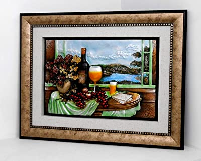 Wall frame flowers & wine on a table / Home decorative # 1748