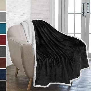 PAVILIA Premium Sherpa Fleece Throw Blanket | Soft, Plush, Fuzzy Black Throw | Reversible Warm Cozy Microfiber Solid Blanket for Couch Sofa (Black, 50x60 Inches)