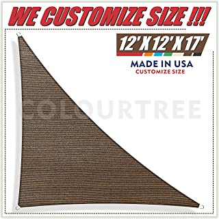 ColourTree 12' x 12' x 17' Right Triangle Brown Sun Shade Sail Canopy Awning Sunshades– UV Resistant Heavy Duty Commercial Grade for Outdoor Patio Carport Pergola, (We Make Custom Size)