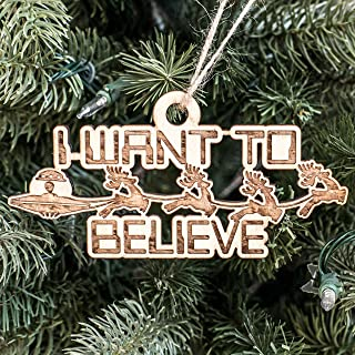 Ornament - I Want to Believe - Raw Wood 6x3in