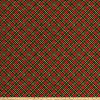 Ambesonne Checkered Fabric by The Yard, Irish Tartan Plaid Motifs in Christmas Colors Geometrical Stripes, Decorative Fabric for Upholstery and Home Accents, 3 Yards, Emerald Yellow Vermilion