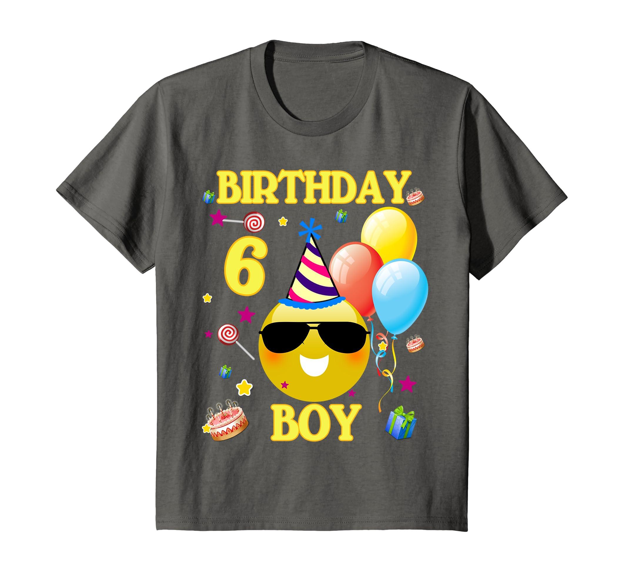Amazon Kids Cute Emoji 6 Years Old Shirt 6th Birthday Boy Gifts Clothing