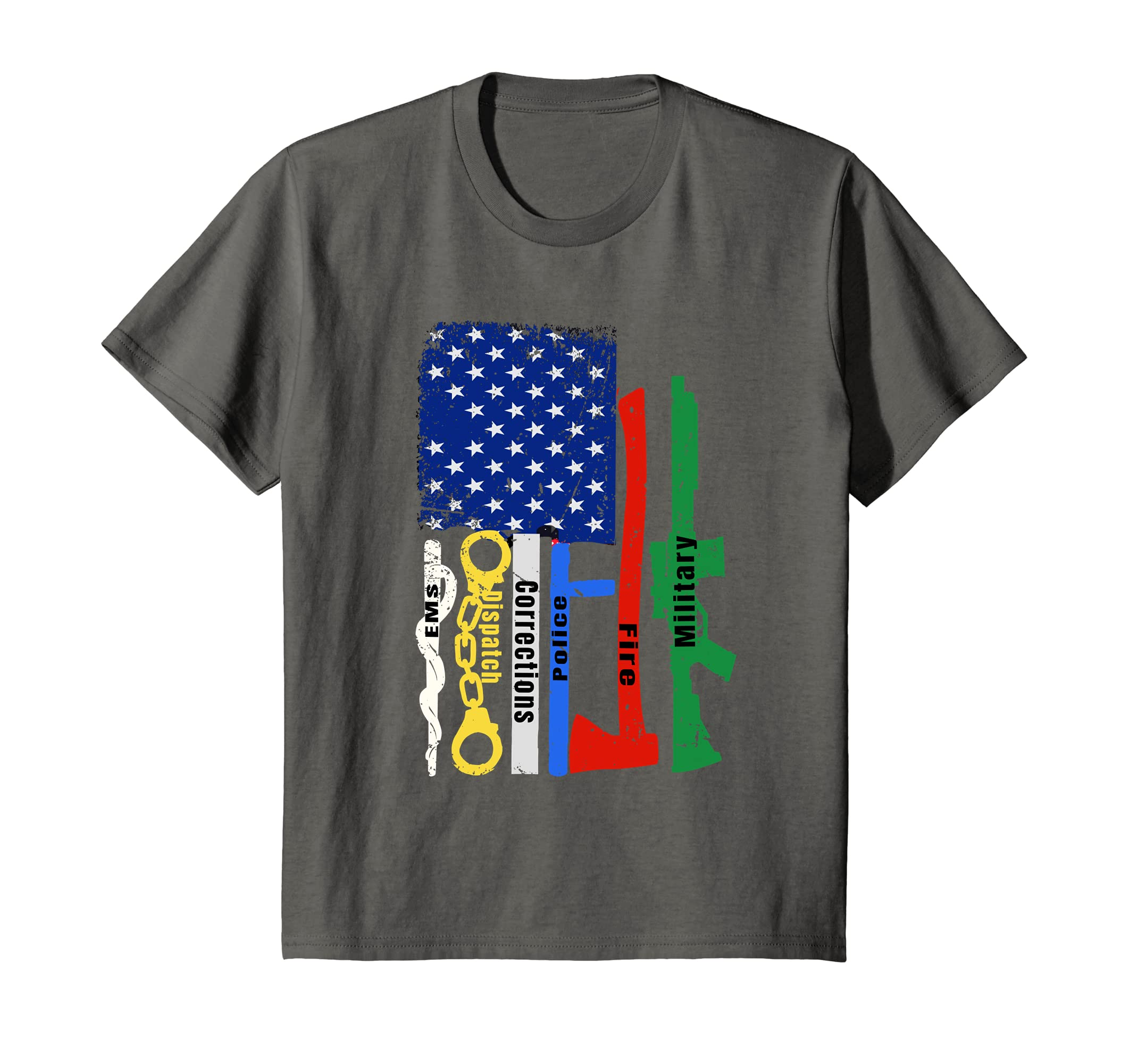 7d4c9466f Amazon.com: First Responder Gift Shirt EMS Firefighter Police Military:  Clothing