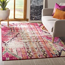 Safavieh Monaco Collection MNC222D Modern Bohemian Magenta Pink Distressed Area Rug (5'1