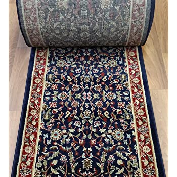 Amazon Com Rug Depot 163129 Traditional Sold By The Foot Stair Runners And Hall Runners 26 Wide Rug Runner Navy Blue Background Kashan Design 100 Polypropylene Furniture Decor