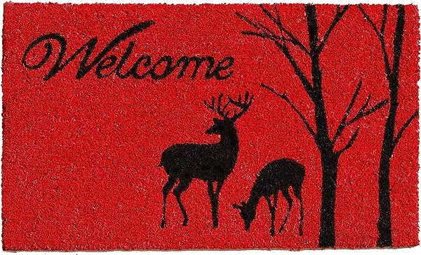 Calloway Mills 121411729 Winter Welcome Doormat 17 X 49 Red Black