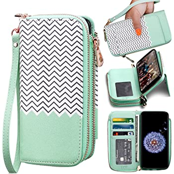 ELV Wallet Case for Samsung Galaxy S9 [PU Leather] Detachable 2in1 Folio Purse for Samsung S9 Credit Card Flip Case Protective with Card Slots, Stand and Magnetic Closure (Mint Zigzag)