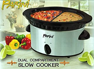 Black Stoneware Dual Compartment Stainless Steel Exterior Slow Cooker