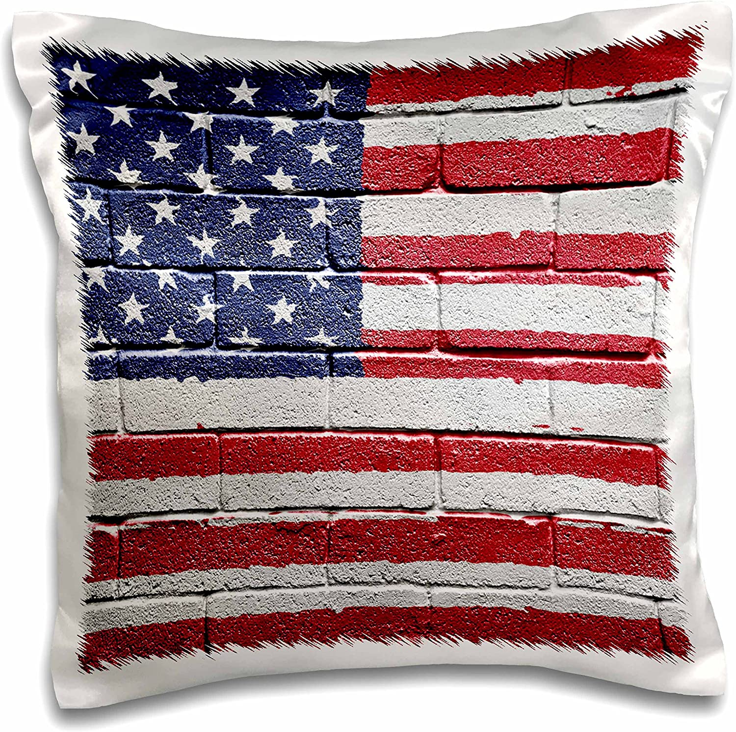 3drose Usa America American Flag On Brick Wall National Country Pillow Case 16 Inch Pc 155121 1 Arts Crafts Sewing